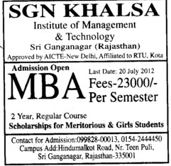 MBA Course 2012 (SGN Khalsa Institute of Management and Technology)