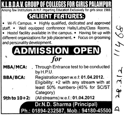 BBA, BCA, MBA and MCA Courses etc (KLB DAV College for Girls)