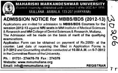 MBBS and BDS Courses (Maharishi Markandeshwar University)