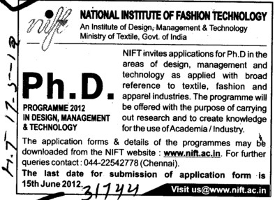 PhD Programme 2012 (National Institute of Fashion Technology (NIFT), Chennai)