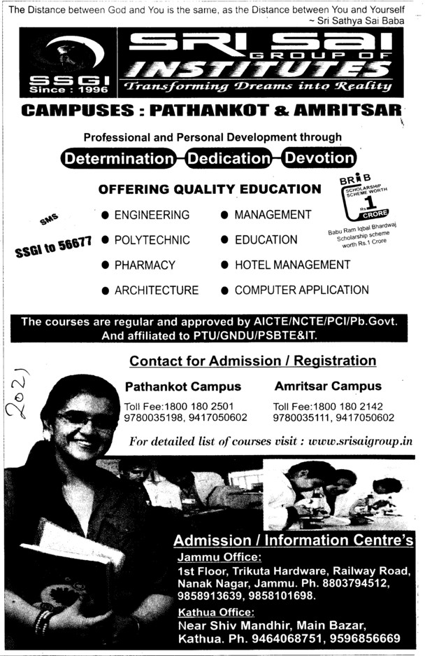 Btech and Other Courses (Sri Sai Group of Instituties (SSGI))