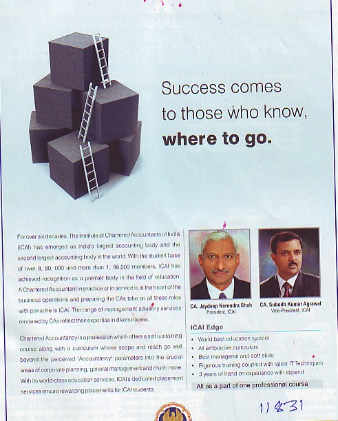 Success comes to those who know, where to go (Institute of Chartered Accountants of India (ICAI))