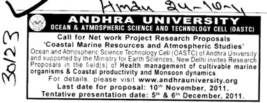 Call for Network Project Research Proposal Coastal Marine resources (Andhra University)