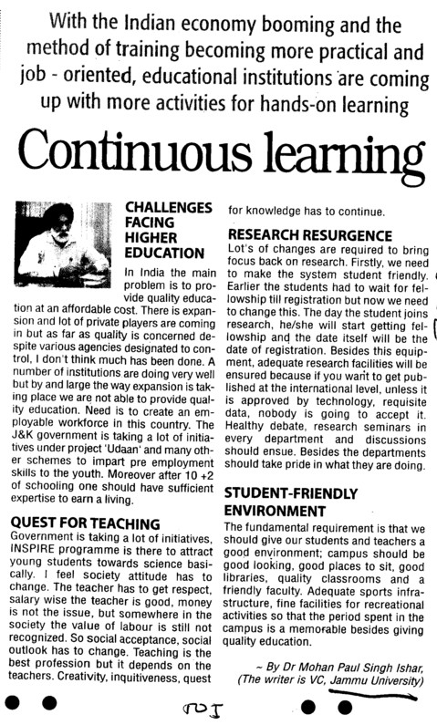 Continues Learning (Jammu University)
