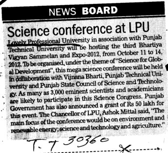Science Conference at LPU (Lovely Professional University LPU)