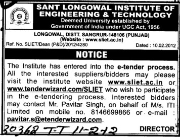 Suppliers and Bidders etc (Sant Longowal Institute of Engineering and Technology SLIET)