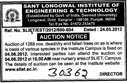 Auction Notice 2012 (Sant Longowal Institute of Engineering and Technology SLIET)