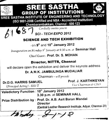 Science and Technology Exhibition (Sree Sastha Group of Institutions)