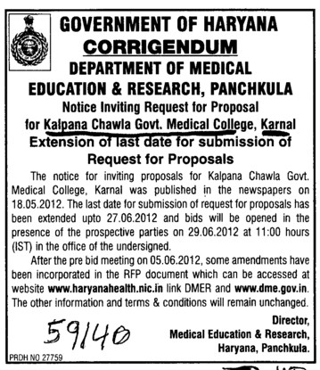 Request for Proposals (Kalpana Chawla Medical College)