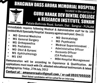 Medical Staff and Administrative staff (Guru Nanak Dev Dental College)