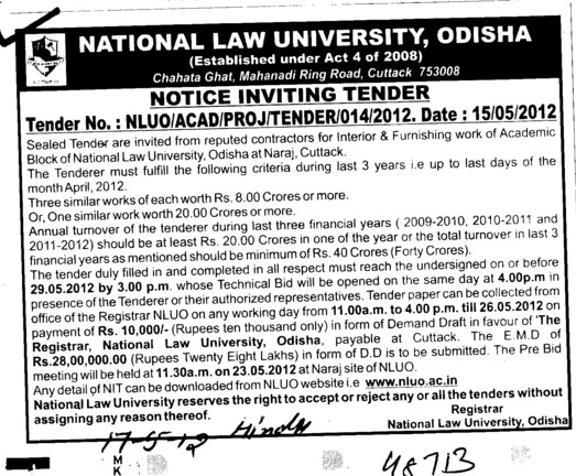 Interior and Furnishing Work etc (National Law University)
