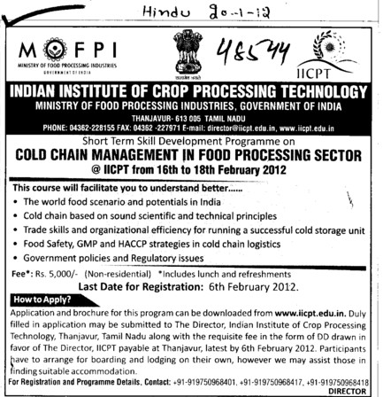 Cold Chain management in food processing sector (Indian Institute of Crop Processing Technology (IICPT))