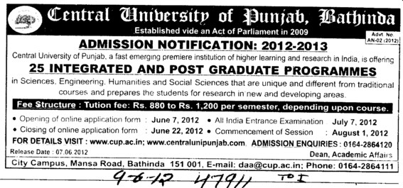25 integrated and PG Programmes (Central University of Punjab)