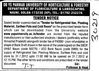 Refrigerated van, planting material, earthen pots and cold room (Dr Yashwant Singh Parmar University of Horticulture and Forestry)