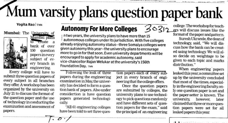Mum varsity plans questions paper bank (University of Mumbai)