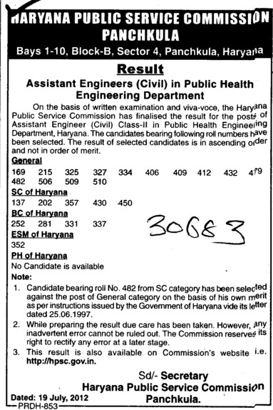 Asstt Engg. in Public Health Engg Department (Haryana Public Service Commission (HPSC))