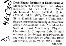 Experienced Lecturer (Desh Bhagat Institute of Engineering and Management)