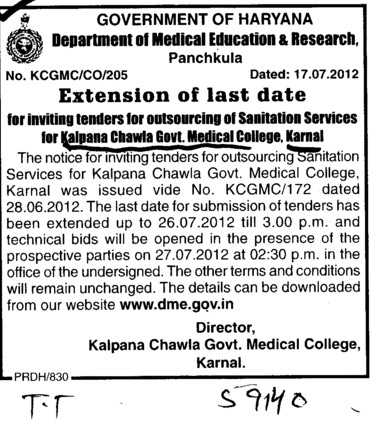 Extension of Last date (Kalpana Chawla Medical College)