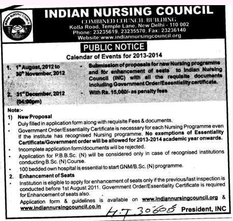 Post Basic BSc Nursing Course etc (Indian Nursing Council (INC))