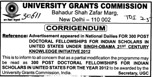 Post Doctoral Fellowship (University Grants Commission (UGC))