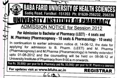 Bachelor of Pharmacy and M Pharmacy Courses etc (BFUHS University Institute of Pharmacy)