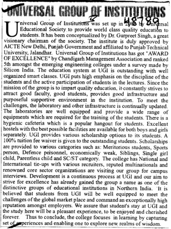 More about Universal Group (Universal Group of Institutions)