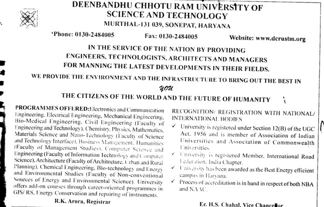BTech in various streams (Deenbandhu Chhotu Ram University of Science and Technology)