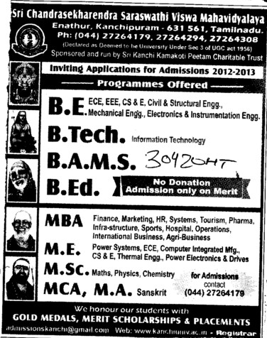 BE, BTech, BAMS and MBA Courses etc (Sri Chandrasekharendra Saraswathi Vishwa Mahavidyalaya Deemed University)