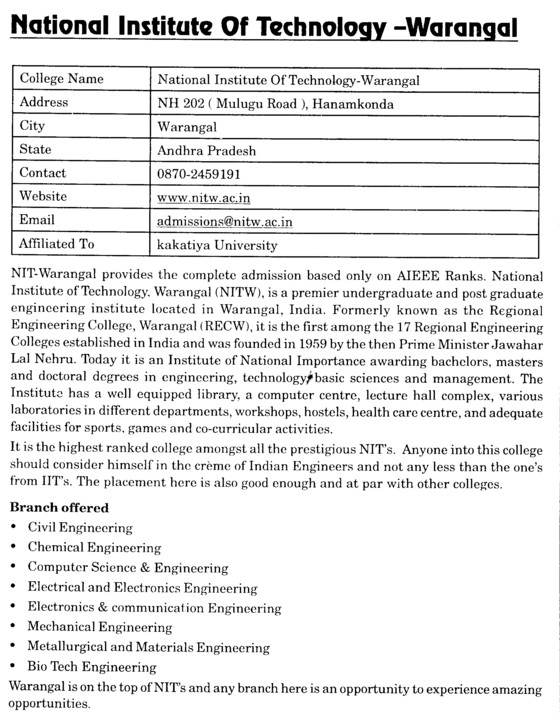 NIT Warangal (National Institute of Technology NIT)