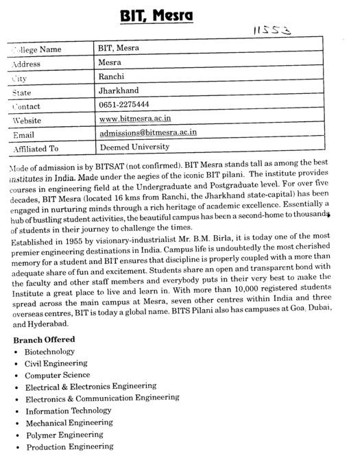 BIT, Mesra (Birla Institute of Technology (BIT Mesra))