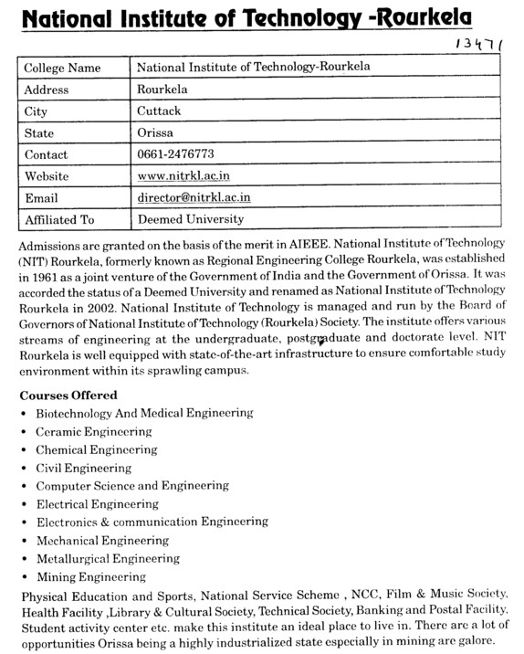 NIT, Rourkela (National Institute of Technology (NIT))