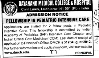 Fellowship in Pediatric Intensive Care (Dayanand Medical College and Hospital DMC)