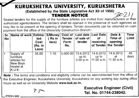 Supply of Furniture articles (Kurukshetra University)