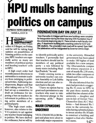 HPU mulls banning politics on campus (Himachal Pradesh University)