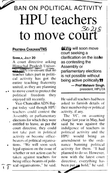 HPU teachers to move court (Himachal Pradesh University)