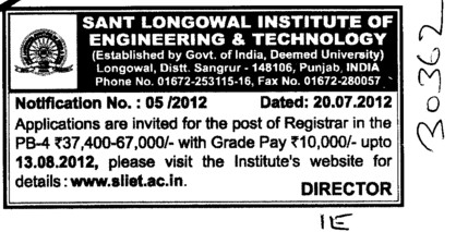 Registrar (Sant Longowal Institute of Engineering and Technology SLIET)