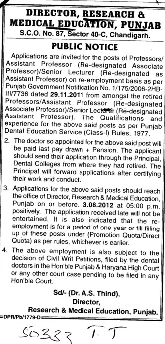 Regarding Posts (Director Research and Medical Education DRME Punjab)