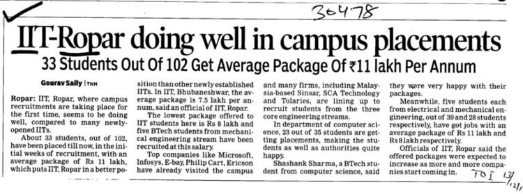 IIT Ropar doing well in campus placements (Indian Institute of Technology (IITR))