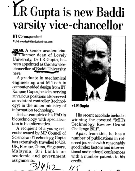 LR Gupta is new Baddi Varsity VC (Baddi University of Emerging Sciences and Technologies)