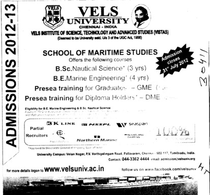 BSc Nautical Science and BE in Marine Engg (VELS University)