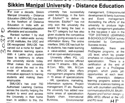 Sikkim Manipal University, Distance Education (Sikkim Manipal University of Health Medical and Technological Sciences)