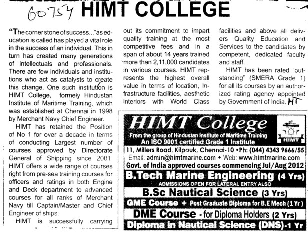 BTech, BSc and DME Courses etc (HIMT College)