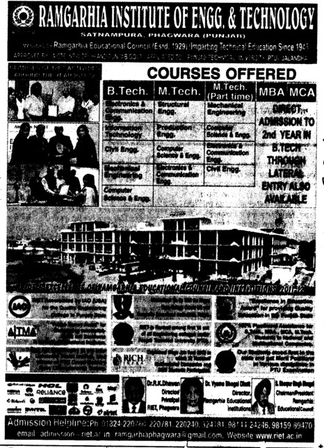 BTech, MTech and MCA Courses (Ramgarhia Institute of Engineering and Technology RIET)