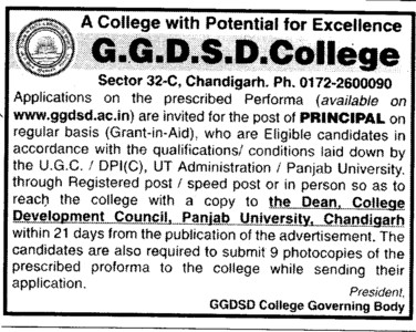 Principal on regular basis (GGDSD College)