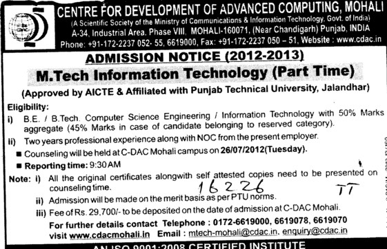 Part Time Mtech in Information Tech (Centre for Development of Advanced Computing)