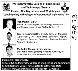 One day International Workshop on Aeronautical Engg (RVS Padhmavathy College of Engineering and Technology Gummidipoondi)