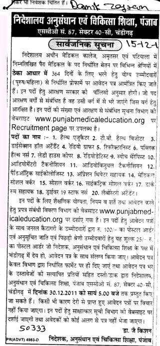 Various Posts (Director Research and Medical Education DRME Punjab)