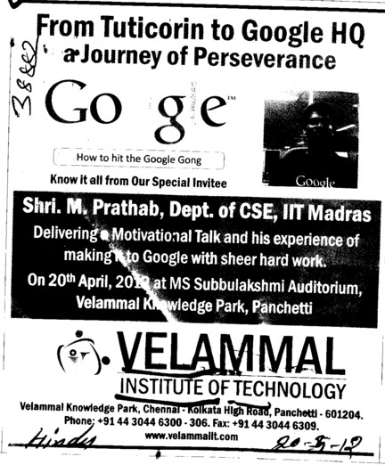 Tuticorin to Google HQ a Journey of Perseverance (Velammal Institute of Technology)
