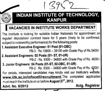 Asstt Executive Engg and Junior Engg etc (Indian Institute of Technology (IITK))