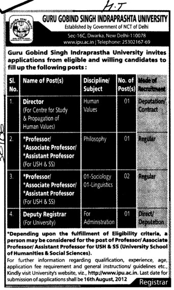 Director, Associate Professor and Deputy Registrar etc (Guru Gobind Singh Indraprastha University GGSIP)